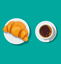 coffee cup and french croissant vector image
