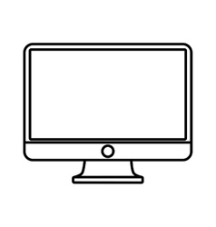computer screen monitor technology outline vector image