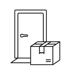 Contactless delivery linear icon front door vector