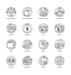 Creative banking and finance icon set vector