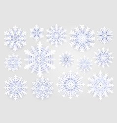 cute snowflakes collection on grey background vector image