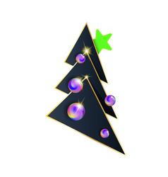 Dark modern christmas tree black and goldand vector