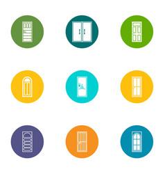 Doorway icons set flat style vector