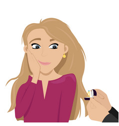 Embarrassed girl make a marriage proposal vector