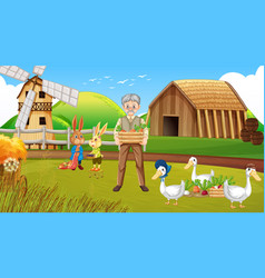 farm scene with old farmer man and animals vector image