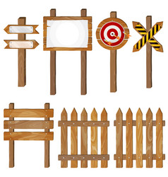 Fence wooden signboards arrow sign target dart vector