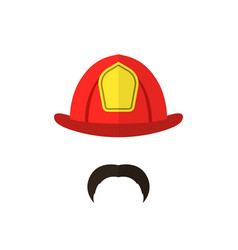 firefighter with mustache wearing helmet men icon vector image