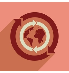 Flat web icon with long shadow Earth arrows vector