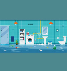 floods in the house vector image