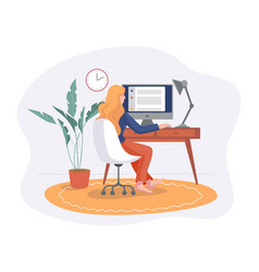 freelance woman work from home comfortable space vector image