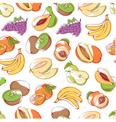Fresh fruits on white background seamless pattern vector