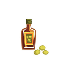 glass bottle of olive oil on a vector image