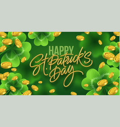 golden realistic lettering happy st patricks day vector image