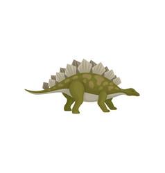 green stegosaurus dinosaur with vector image
