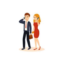 Guy and girl talking on the phone vector