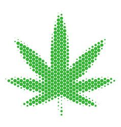 Halftone dot cannabis icon vector