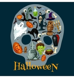 Halloween holiday flat icons in shape of skull vector image vector image