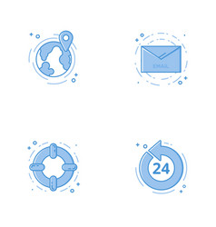 Icons with globe email help circle and 24 7 vector
