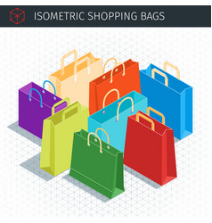 Isometric shopping bags vector