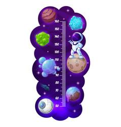 Kids height chart cartoon astronaut space planets vector