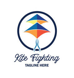 kite fighting logo with text space for your slogan vector image