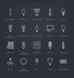 light bulbs flat line icons led lamps types vector image