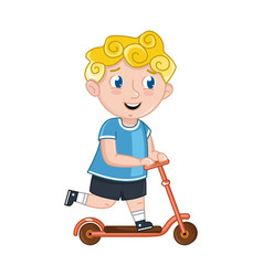 Little boy riding on kick scooter vector