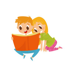 Little children reading book with fairy tales vector