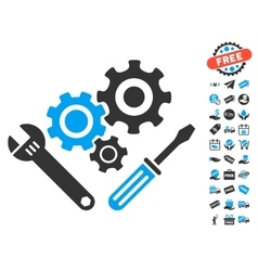 Mechanics Tools Icon With Free Bonus vector