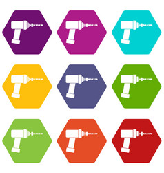 Medical drill icon set color hexahedron vector