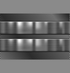 Metal plates on perforated texture 3d shiny iron vector