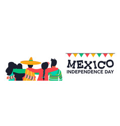 mexico independence day banner of friends at party vector image