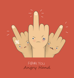 Middle fingers with angry faces vector