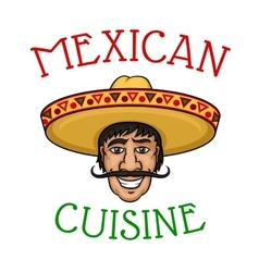 National mexican cuisine chef in sombrero vector image