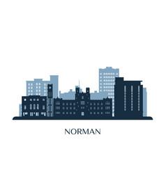 Norman skyline monochrome silhouette vector