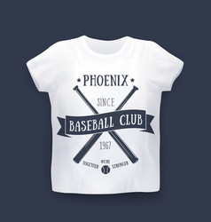 phoenix baseball club print on t-shirt mockup vector image