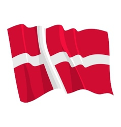 Political waving flag of denmark vector