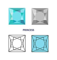 Princess gem cut vector