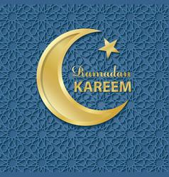Ramadan KareemBlue pattern backgroundGold Moon vector image