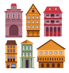 residential buildings set with bright old european vector image