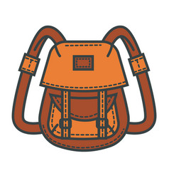 retro backpack of waterproof beige fabric with vector image