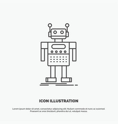 robot android artificial bot technology icon line vector image