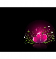 Romantic black background with hearts vector