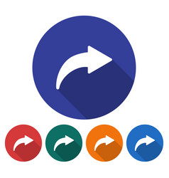 round icon of right curved arrow flat style with vector image
