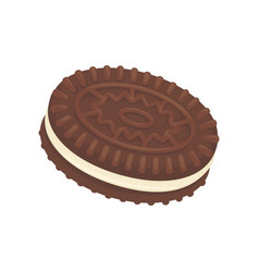 Sandwich chocolate biscuit filled with vannila vector
