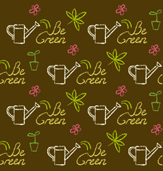 seamless pattern with be green text vector image