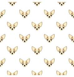 Seamless pattern with chihuahua Dog head flat icon vector image