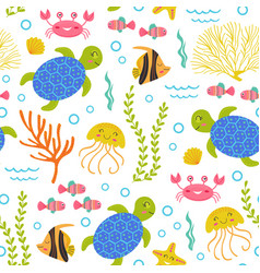 seamless pattern with turtlemarine animals vector image