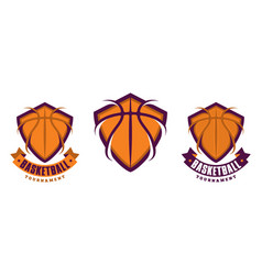 Set of basketball sport icons vector