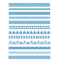 set of greek patterns vector image